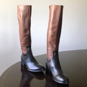 Donald J Pliner Blk/Brown Leather 7M Knee hi Boots